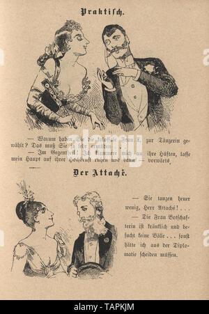 Victorian Cartoon of young couples flirting, 1880s, German - Stock Image