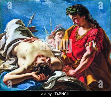 Giovanni Antonio Pellegrini, Alexander at the Corpse of the Dead Darius, 1708 - Stock Image