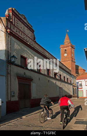 Urban view with church tower. Alosno. Huelva province. Region of Andalusia. Spain. Europe - Stock Image