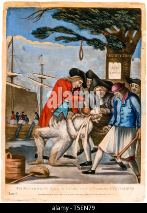 Boston Tea Party, The Bostonians Paying the Excise-man, or Tarring and Feathering, Philip Dawe, 1774, mezzotint - Stock Image