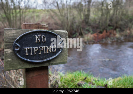 No fly-tipping sign in the countryside, Northumberland, UK - Stock Image
