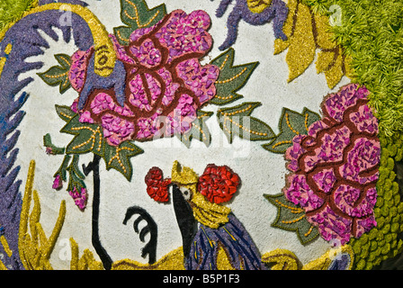 'Carnival of Taiwan' Rose Parade China Airlines float framework covered in natural flowers or greenery; - Stock Image