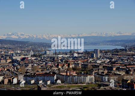 Panoramic view of Zürich-City from Switzerlands second highest skyscraper - Stock Image