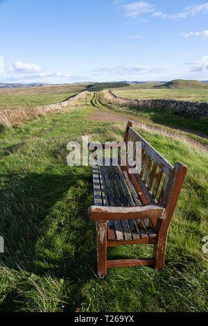 Border scenery in the Cheviot hills where Scotland joins England. Dere Street, the old Roman road. - Stock Image