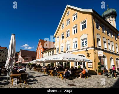 Center of Immenstadt, market place, tourists, restaurant, church, Allgäu, Bavaria, Germany - Stock Image