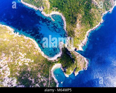Porto Timoni, on of the hidden beaches of Corfu Island, also known as Kerkyra, near Agios Giorgios beach. Turqoise - Stock Image