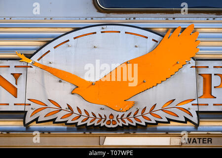 Detail of a coach of the Indian Pacific train service between Perth and Sydney, Australia, operated by Great Southern Rail. - Stock Image