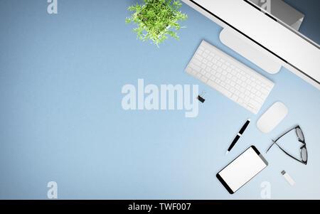 top view of blue desktop with office stuff 3d rendering mockup - Stock Image
