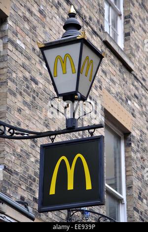 McDonald's sign and lamp, Cambridge, England, UK - Stock Image