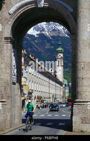 Austria, Tyrol, Innsbruck, Triumphal Arch, Maria-Theresien St, Servite Church, - Stock Image