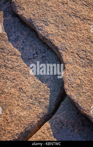 Rugged shoreline detail at Otter Cliffs in Acadia National Park in Maine - Stock Image