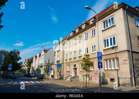 Grunwaldzka, street with historical building typical for the area, Dolny Sopot area, Sopot, Poland - Stock Image