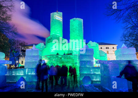 2018 Saint Paul Winter Carnival Ice Palace with green lighting. The ice palace was built in Rice Park downtown St. Paul, Minnesota. - Stock Image