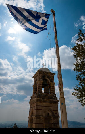 Athens, Greece. Mount Lycabettus is the highest point in the city. The Bell tower. - Stock Image