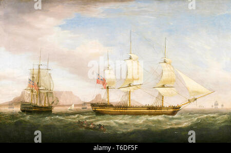 A British East Indiaman ship in two positions off Dover, painting attributed to Dominic Serres,18th Century - Stock Image