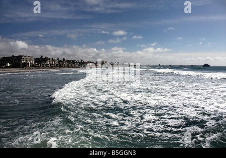 USA The turbulent sea was captured on Oceanside Beach by the pier in Southern California - Stock Image