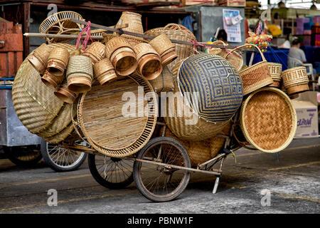 Wicker baskets, Thailand handmade basket - Stock Image