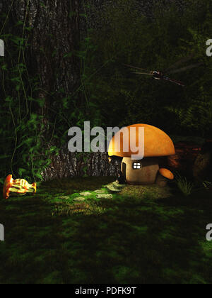 Gnome Toadstool House in the Forest at Night - Stock Image