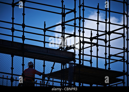 Construction worker on building site - Stock Image
