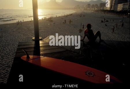 Lifesaver watchs Ipanema beach, Rio de Janeiro, Brazil. - Stock Image