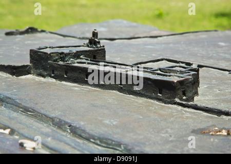 Miniature version of Mission Espada, San Antonio Texas. Made of iron. - Stock Image