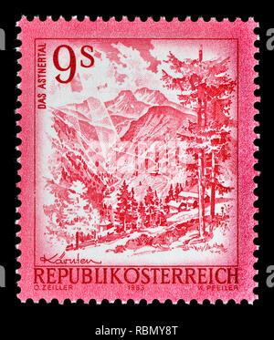 Austrian definitive postage stamp (1968) : Das Astnertal - Stock Image