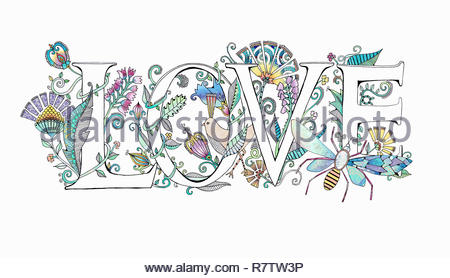 The word 'love' decorated with flowers - Stock Image