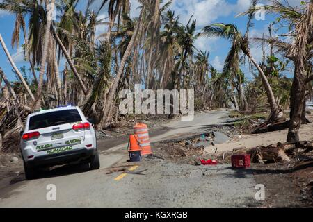 A damaged road between Humacao and Naguabo during relief efforts in the aftermath of Hurricane Maria November 1, - Stock Image