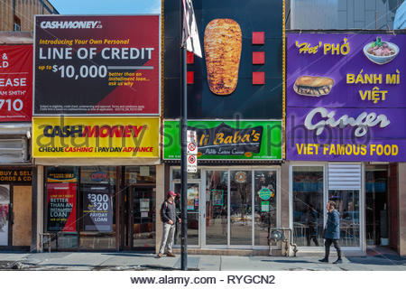Yonge Street small independent stores in the downtown commercial and entertainment district of Toronto Ontario Canada. - Stock Image