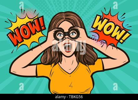 Wow. Sexy surprised woman with open mouth looking through binoculars. Vector illustration in pop art retro - Stock Image