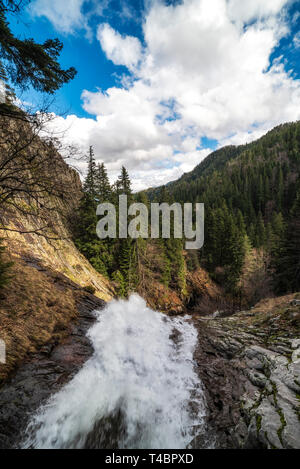 Waterfall in the mountain, looking from top. Beautiful scenery. - Stock Image