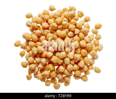 Close-Up of Chick Peas isolated on a white background. - Stock Image