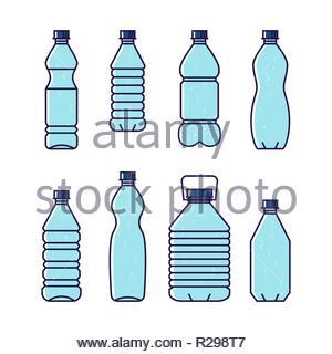 Pure drinking water. Line vector illustration of set of plastic bottles. Blue bottles isolated on white background. - Stock Image