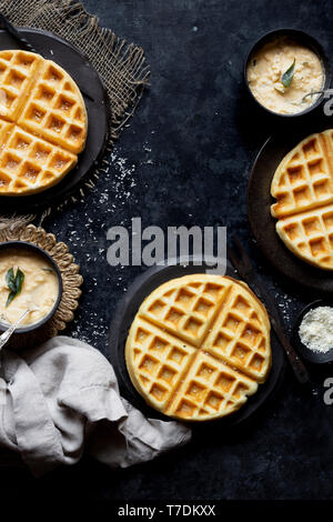 Gluten-Free Vegan Savory Dosa Waffle Indian-style - Stock Image
