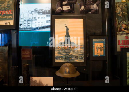 A display in the Statue of Liberty Museum, which opened on May 16, 2019 on Liberty Island in New York harbor, deals with the meaning and impact of the - Stock Image