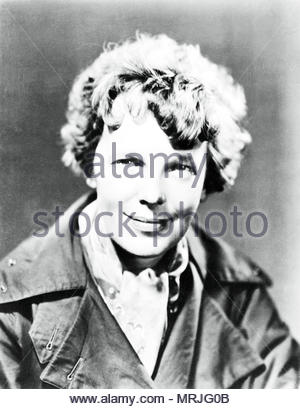 1935 Portrait of Pilot Amelia Earhart.  Editorial use only. - Stock Image