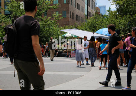 NEW YORK, NY - JULY 11: Movie set and crew of Isn't It Romantic as it was filmed in Washington Square Park in Manhattan on JULY 11th, 2017 in New York - Stock Image