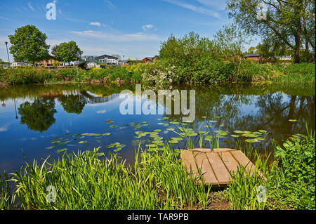 Caravan park alongside the River Avon at Cleeve Prior in Worcestershire - Stock Image