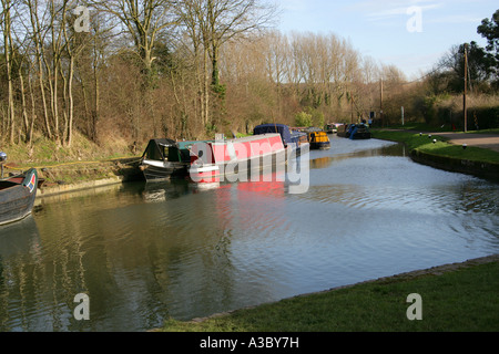 Junction of Grand Union Canal and Wendover Arm at Bulbourne, Near Tring Reservoirs, Hertfordshire - Stock Image