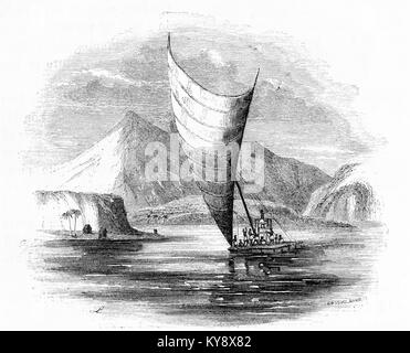 Engraving of a native canoe in the South Seas, most likely Fiji. From an original engraving in the Harper's - Stock Image