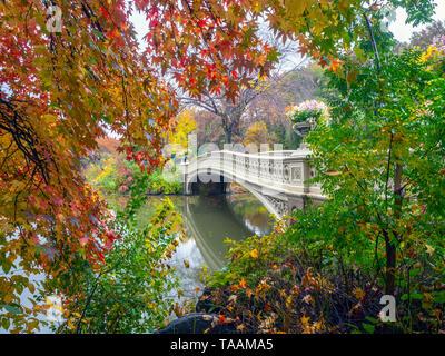 Bow Bridge in New York City, Central Park Manhattan - Stock Image