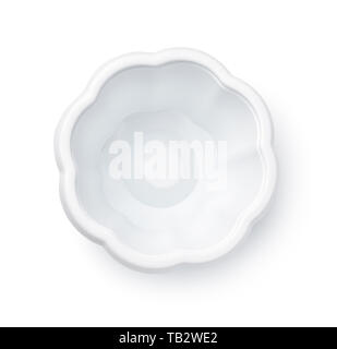 Top view of empty disposable plastic ice cream cup isolated on white - Stock Image