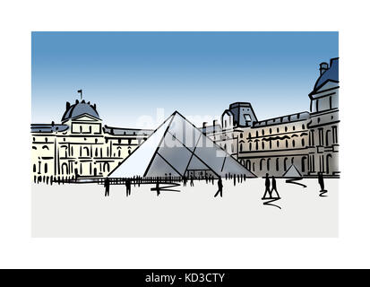 Illustration of the Louvre Pyramid in Paris, France - Stock Image