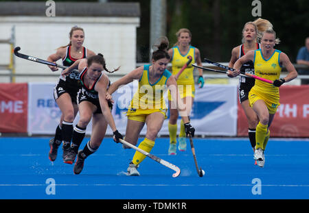 Krefeld, Germany, June 16 2019, hockey, women, FIH Pro League, Germany vs. Australia:  Amelie Wortmann (Germany, L) and Lily Brazel (Australia) compet - Stock Image