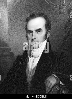 Daniel Webster (1782-1852) on engraving from 1834. Leading American statesman and senator. - Stock Image