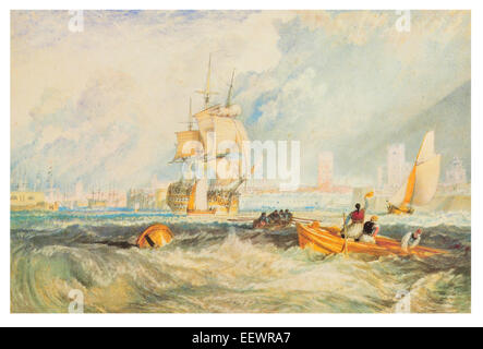 Portsmouth by Joseph Mallord William Turner Horbour royal navy ship battleship fisherman fishing sailing sailor - Stock Image