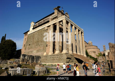 italy, rome, roman forum, temple of antonino and faustina and church of san lorenzo in miranda - Stock Image