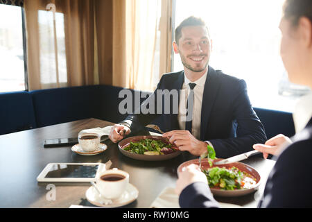 Having salad and tea - Stock Image