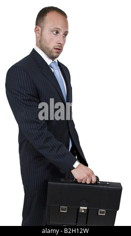 businessman with leather bag on isolated background - Stock Image