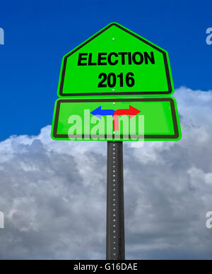 conceptual sign election 2016 left or right over dramatic  blue sky - Stock Image
